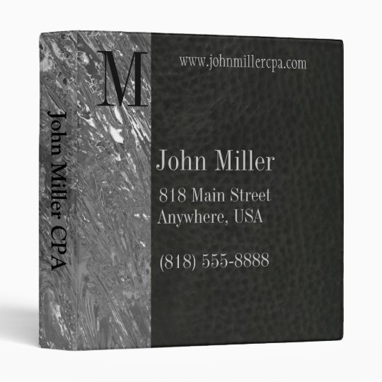 Black Leather & Chrome Monogram Business Binder