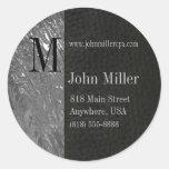 Black Leather & Chrome Monogram Business Sticker