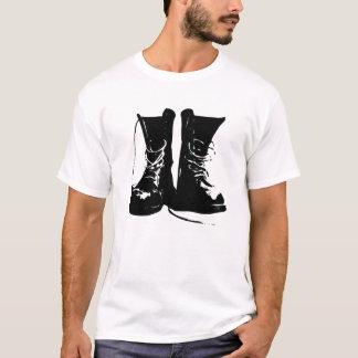 Black Leather Combat Boots Laces T-Shirt