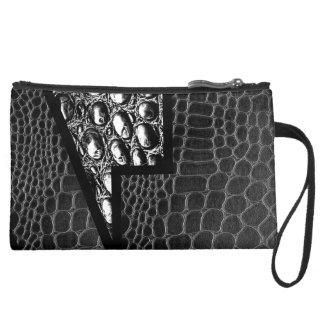 Black Leather Crocodile Abstract Wristlet