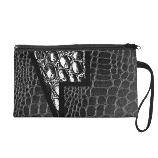 Black Leather Crocodile Abstract Wristlet Clutch