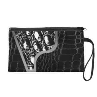 Black Leather Crocodile Texture Wristlet Clutch