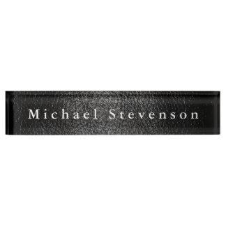 Black Leather Effect Elegant Modern Desk Nameplate