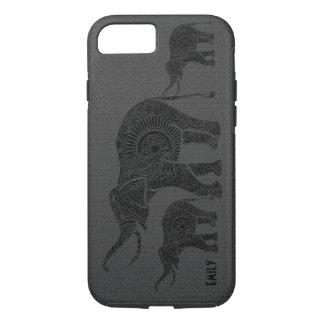 Black Leather Embossed Floral Elephant-Monogram iPhone 8/7 Case