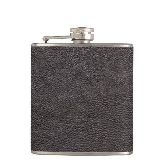 Black Leather Fabric Hip Flask