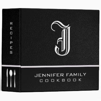 Black Leather Family Recipes Monogram Binder