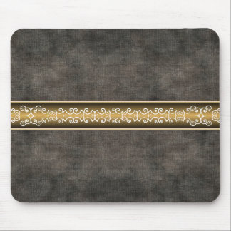 Black Leather Filigree Designer Mousepad
