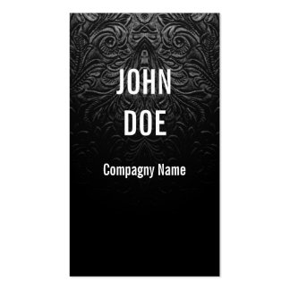 Black leather finely decorated Double-Sided standard business cards (Pack of 100)