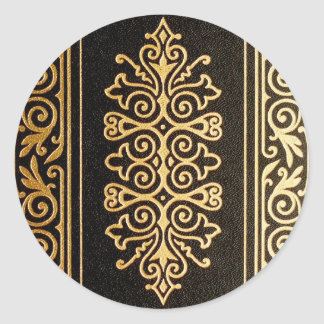 Black Leather Gold Embossed Pattern Classic Round Sticker