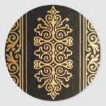 Black Leather Gold Embossed Pattern Round Stickers