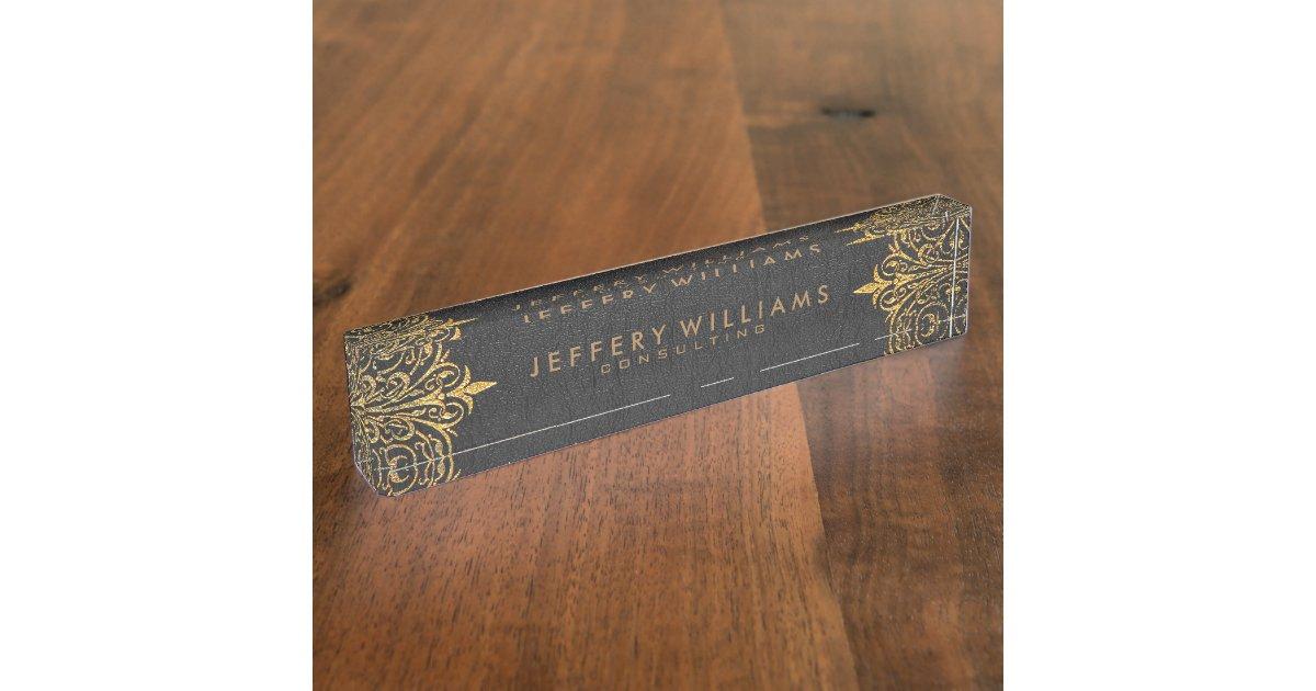 Black Leather Gold Foil Lace Frame Desk Name Plate Zazzle Com