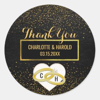Black Leather Gold Glitter Look   Wedding Favor Classic Round Sticker