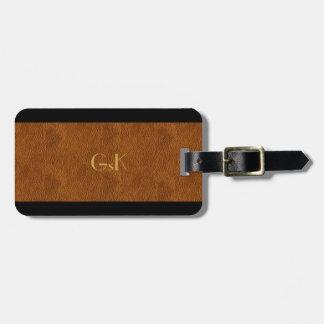 Black Leather Gold Monogram executive Luggage Tag