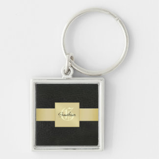 Black Leather Gold Monogram Father's Day Keychain