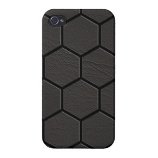 Black Leather Hexagon Matrix iPhone 4 Cover