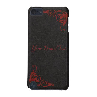 Black Leather Image with Tooled Scrolls in Red iPod Touch 5G Cases