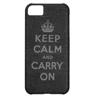 Black Leather Keep Calm And Carry On Case For iPhone 5C