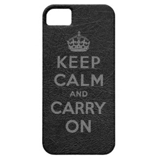 Black Leather Keep Calm And Carry On iPhone SE/5/5s Case