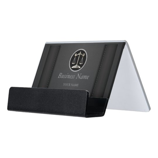 Black Leather Lawyer Personalize Desk Business Card Holder Zazzle