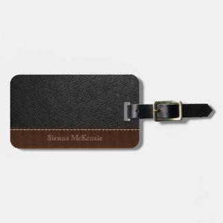 Black Leather Look Bag Tag