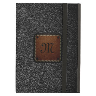 Black leather look brown tag cover for iPad air