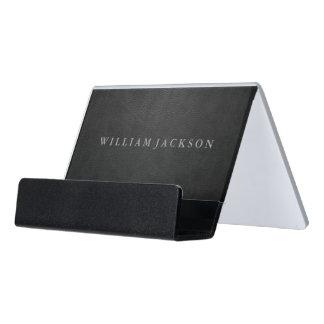 Black Leather Look Desk Business Card Holder