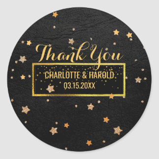 Black Leather Look Gold Stars   Wedding Thank You Classic Round Sticker