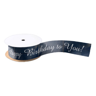Black Leather Look Happy Birthday Satin Ribbon
