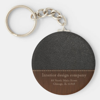 Black leather look keychain