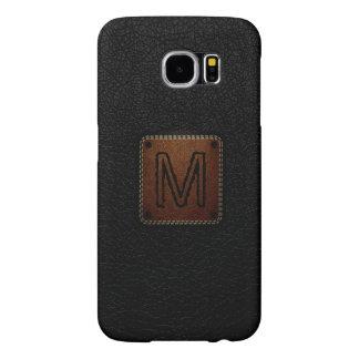 Black Leather Look Monogram Samsung Galaxy S6 Case