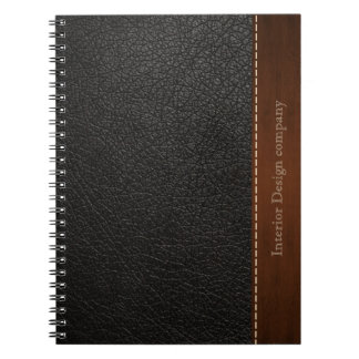 Black leather look notebook