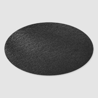 Black Leather Look Oval Sticker