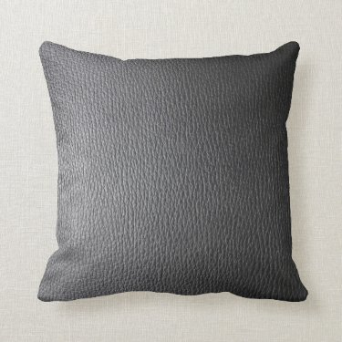 Black Leather Look Pattern Throw Pillows