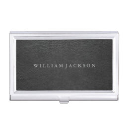 Black Leather Look Personalized Business Card Holder