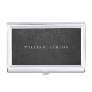 Business card holders cases zazzle black leather look personalized business card holder colourmoves