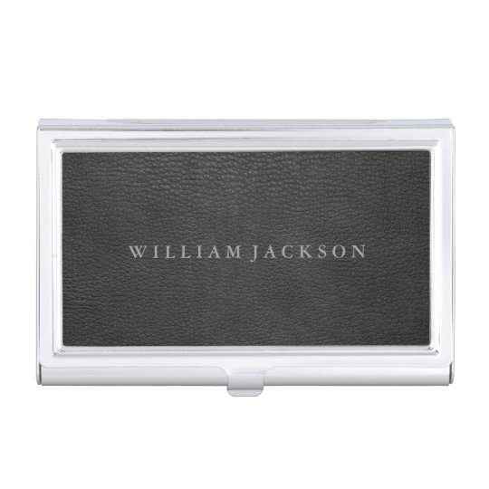 Black leather look personalized business card holder zazzle black leather look personalized business card holder colourmoves