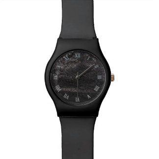 Black Leather Look Texture Design Wristwatch