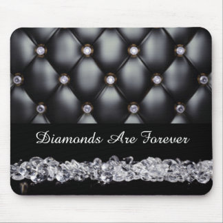 Black Leather Look White Diamonds Mouse Pad