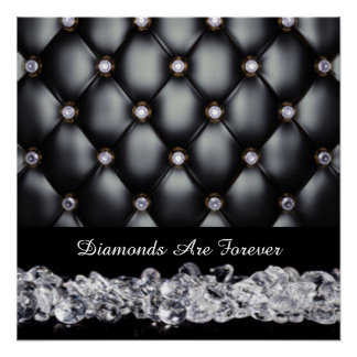 Black Leather Look White Diamonds Poster