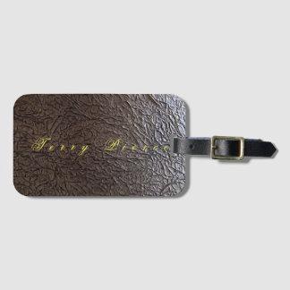 Black Leather Look Wrinkled Bag Tag