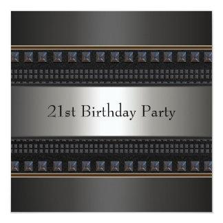 Black Leather Mans 21st Birthday Party Invitation