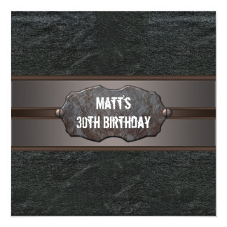 Black Leather Mans 30th Birthday Party Card