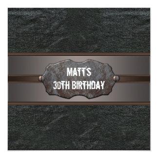 Black Leather Mans 30th Birthday Party Custom Invite
