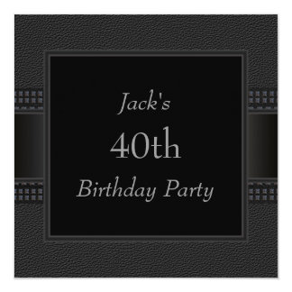 Black Leather Mans 40th Birthday Party Card