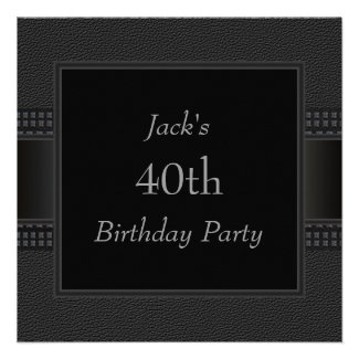 Black Leather Mans 40th Birthday Party Announcements