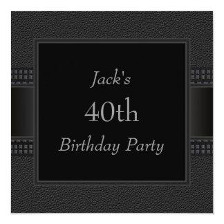 Black Leather Mans 40th Birthday Party Invitation