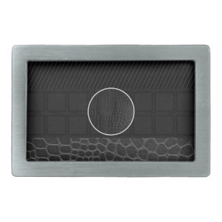 Black Leather Monogram Belt Buckles