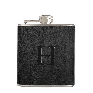 Black Leather Monogram Flasks