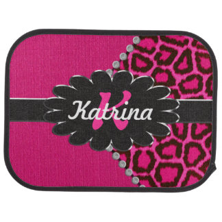 Black Leather Monogram on Pink Cheetah Car Mat