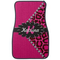 Black Leather Monogram on Pink Cheetah Car Mat